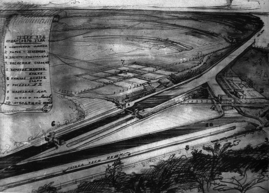 03 1935 Икшанский гидроузел. Аксонометрия