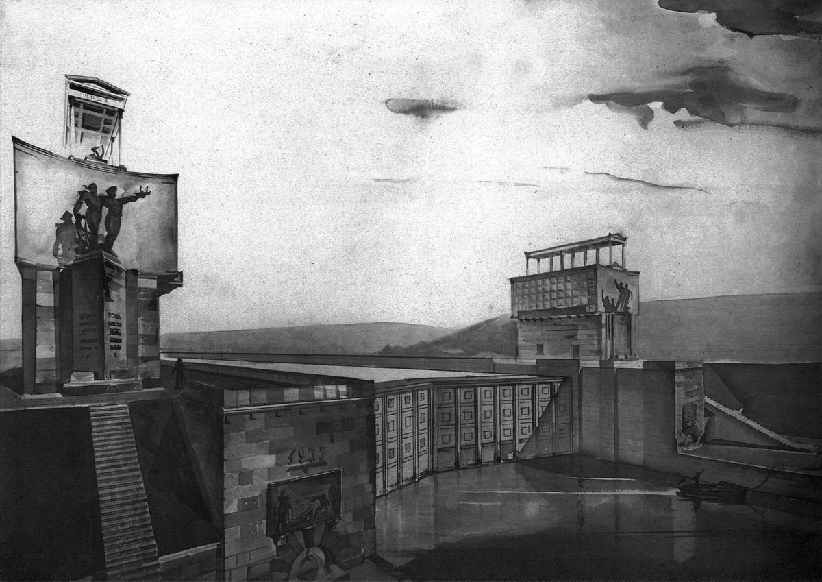 1935 Затвор и башни управления верхнего бьефа. Перспекива, вариант.