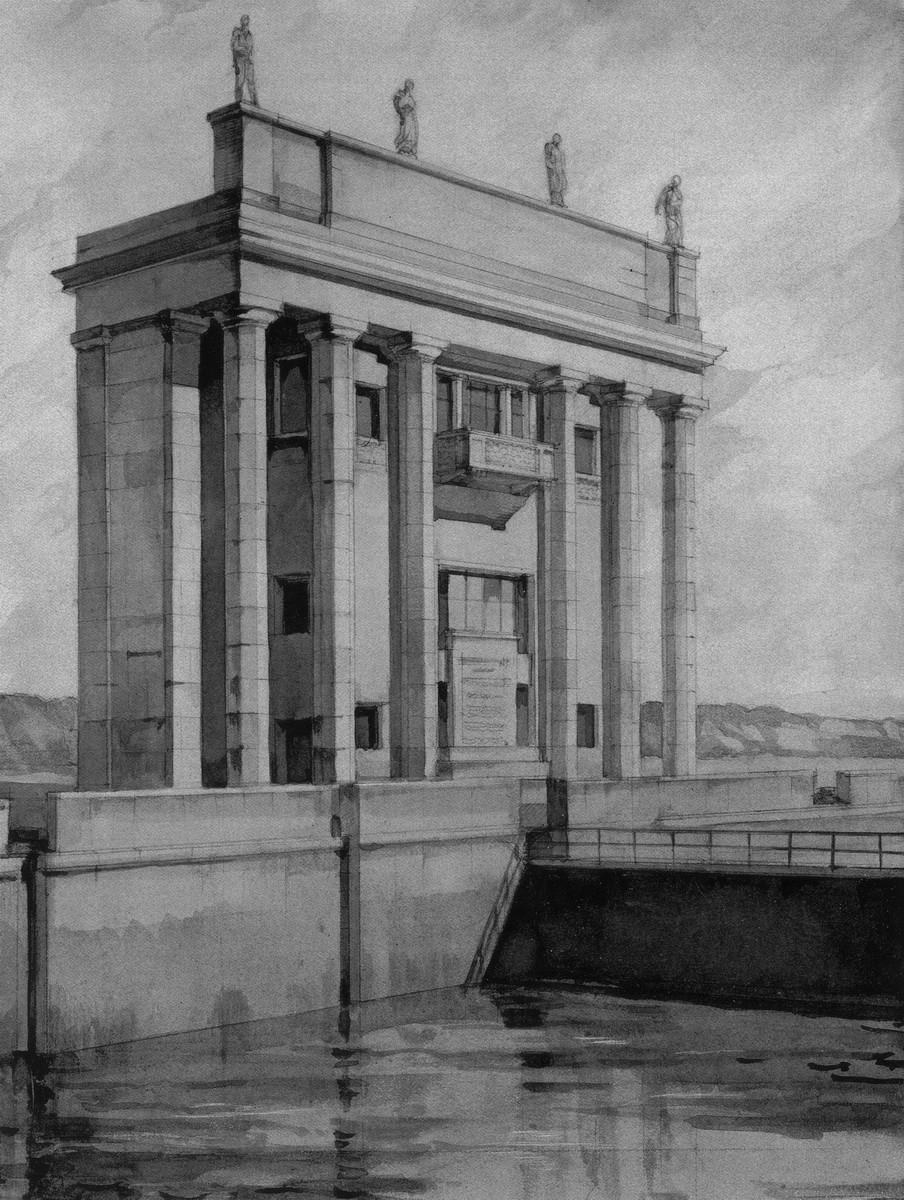 1936 Башня управления верхнего бьефа - перспектива.
