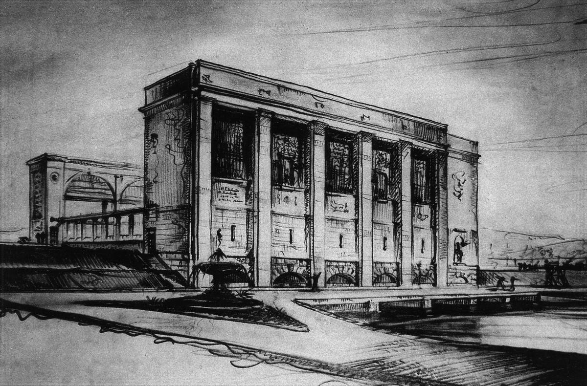 1936 Насосная станция - 'здание затворов'. Эскиз перспективы со стороны верхнего бьефа.