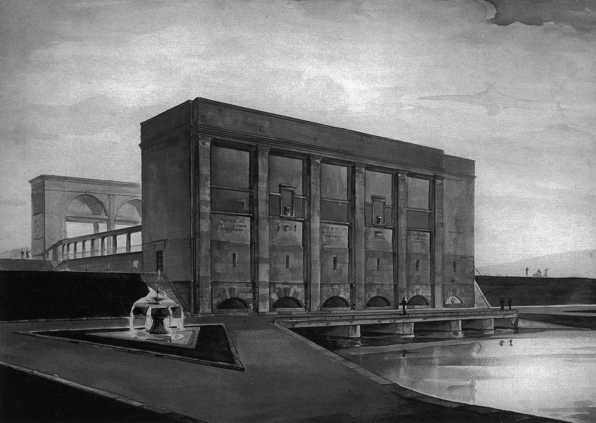 1936 Насосная станция - 'здание затворов'. Перспектива со стороны верхнего бьефа.