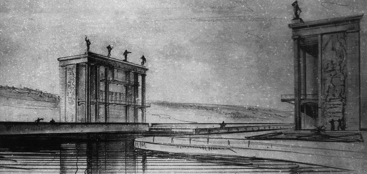 14 1936 Башни управления верхнего бьефа. Эскиз перспективы