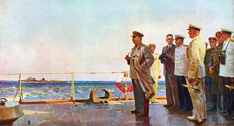 1947-08-19 Сталин на палубе крейсера 'Молотов'. Картина В. Пузырькова