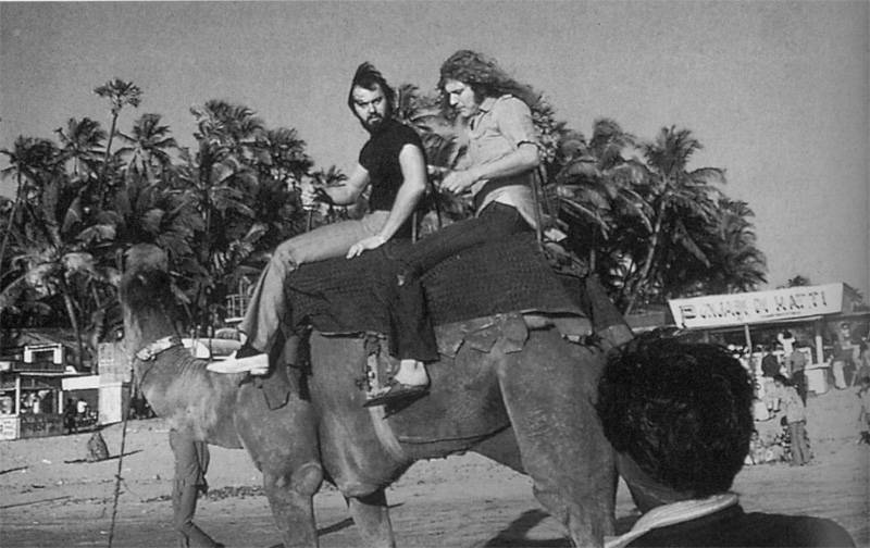 Cole & Plant riding a camel in India, 1971