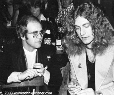Robert Plant, with Elton John. Foto by John Kalodner New York 1975