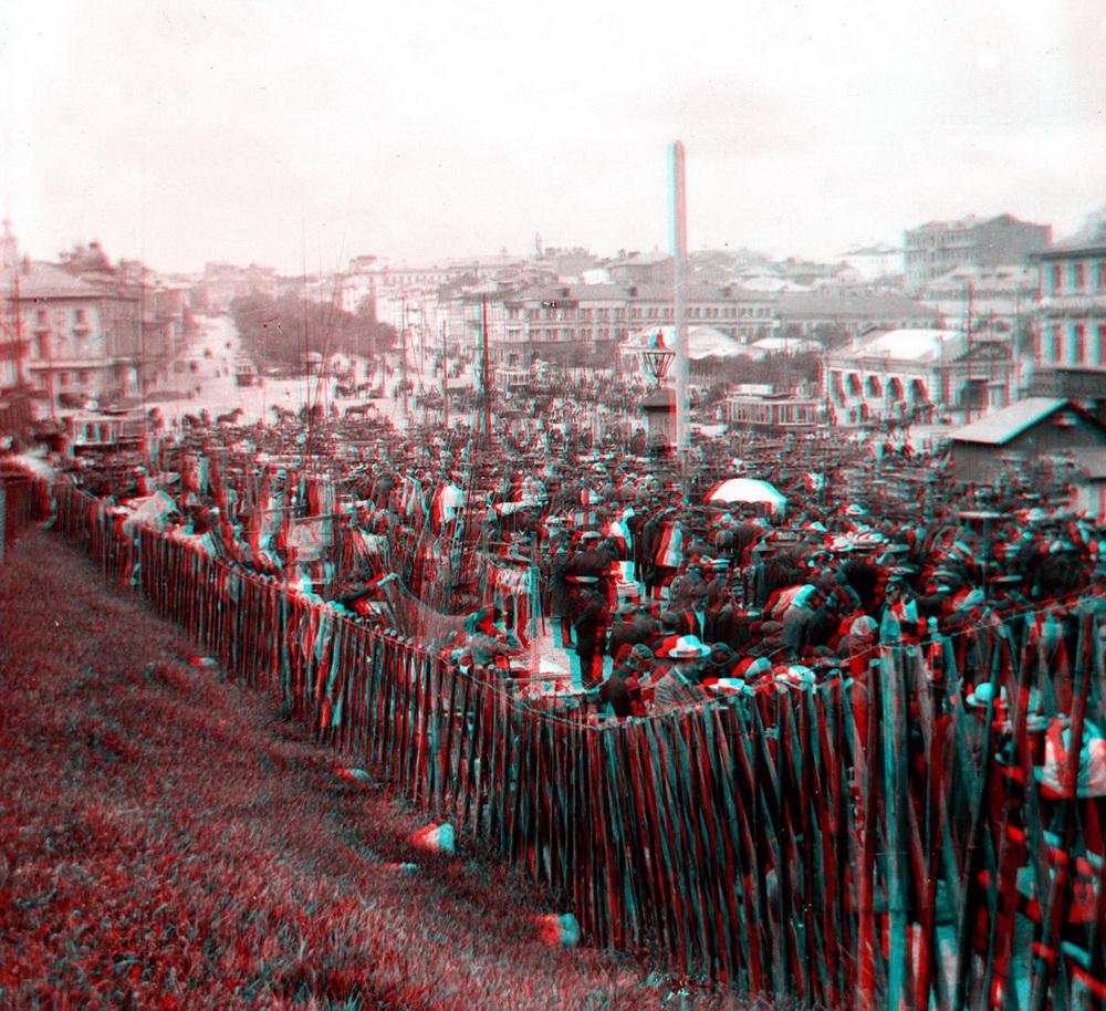 Стерео - Москва, Трубная площать, ярмарка 1911-1917 (направление съемки %U2014 северо-запад)