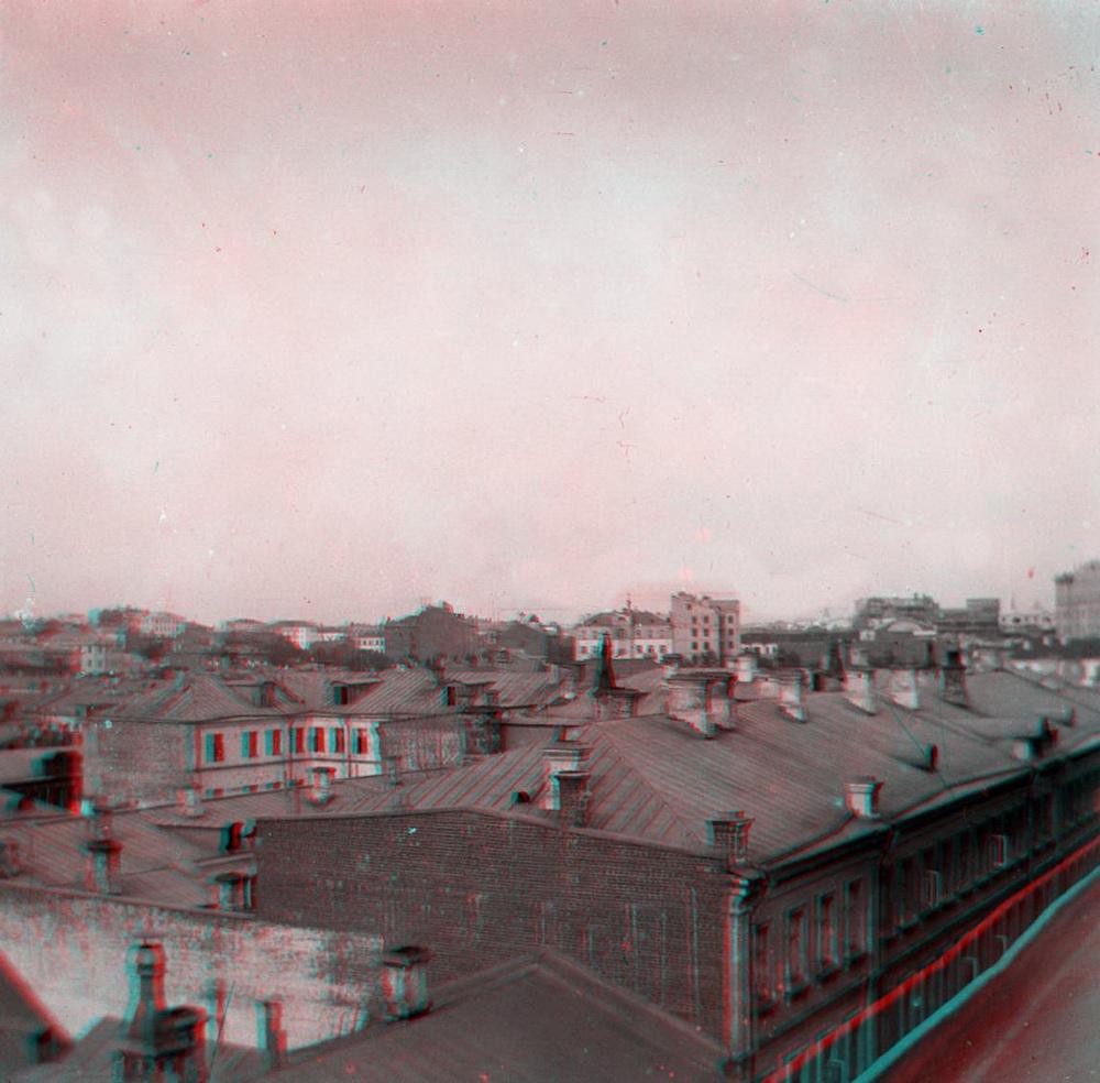 Стерео - Москва, вид в сторону Арбата из 2-го Смоленского переулка 1900-1917 (направление съемки %U2014 северо-восток)