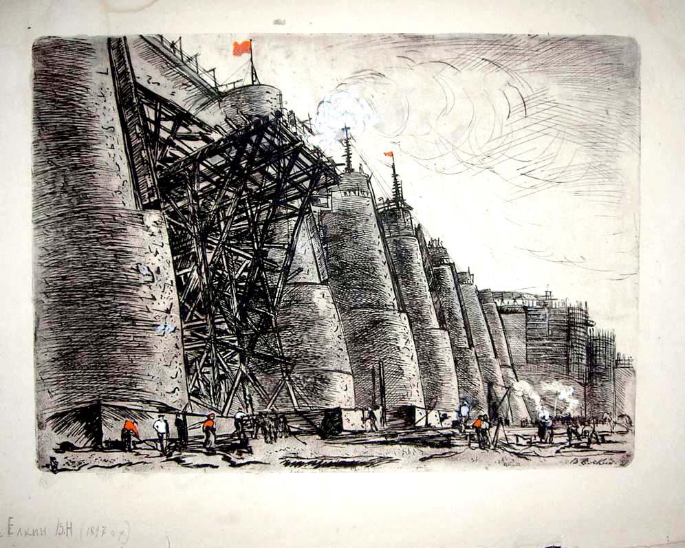 В.Ёлкин Быки Волжской бетонной плотины