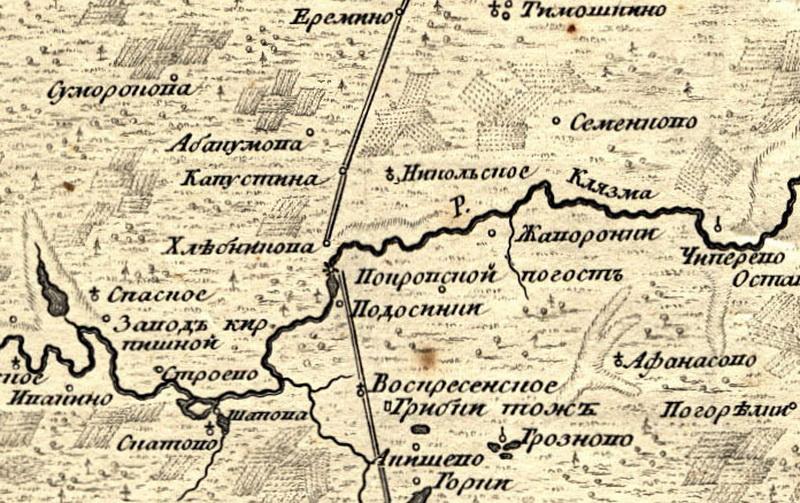 Характерный разрыв Дмитровского тракта в районе Хлебникова на карте 1766 года - похоже, что моста в то время не было.