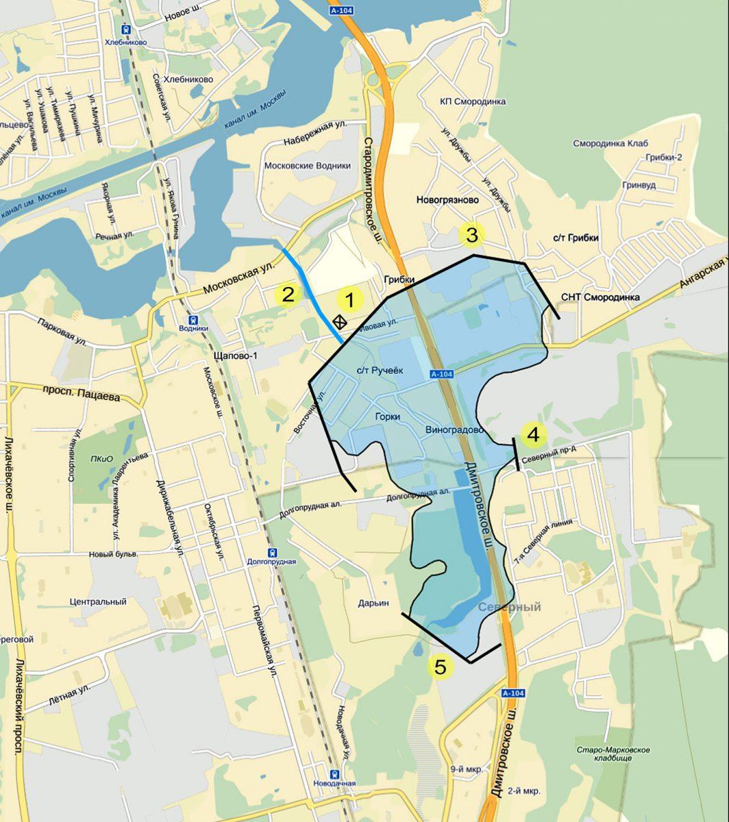 Реконструкция Долгопрудненского водохранилища на современной карте.