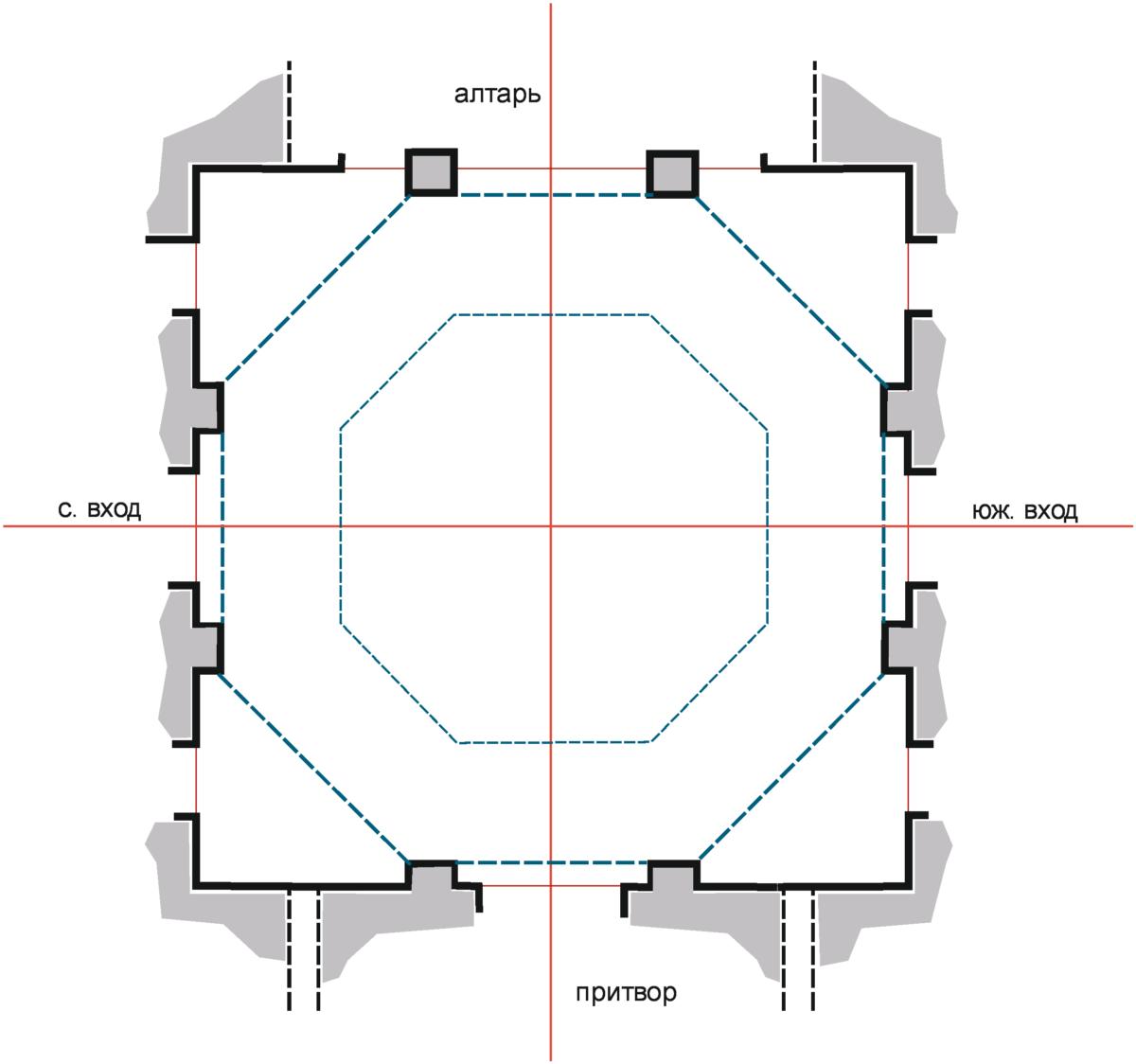 План храма в Киреево. Реконструкция арх. Алексея Карпова.
