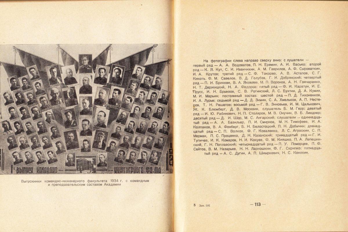 Выпускники командно-инженерного факультета ВИА им. Куйбышева 1934 года.