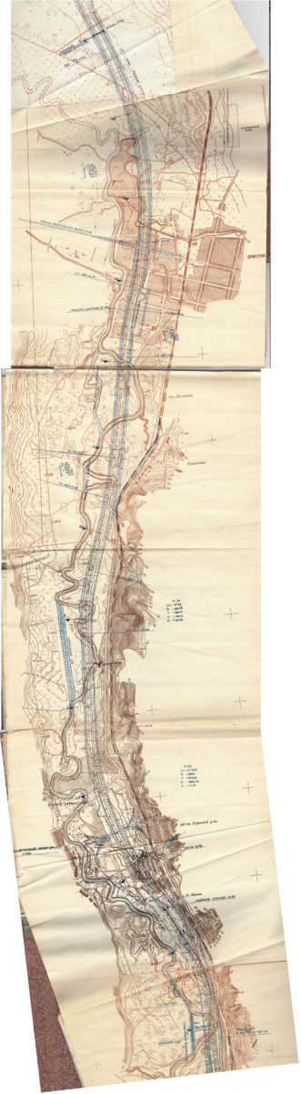 Участок канала Дмитров-Яхрома на плане 1935г.