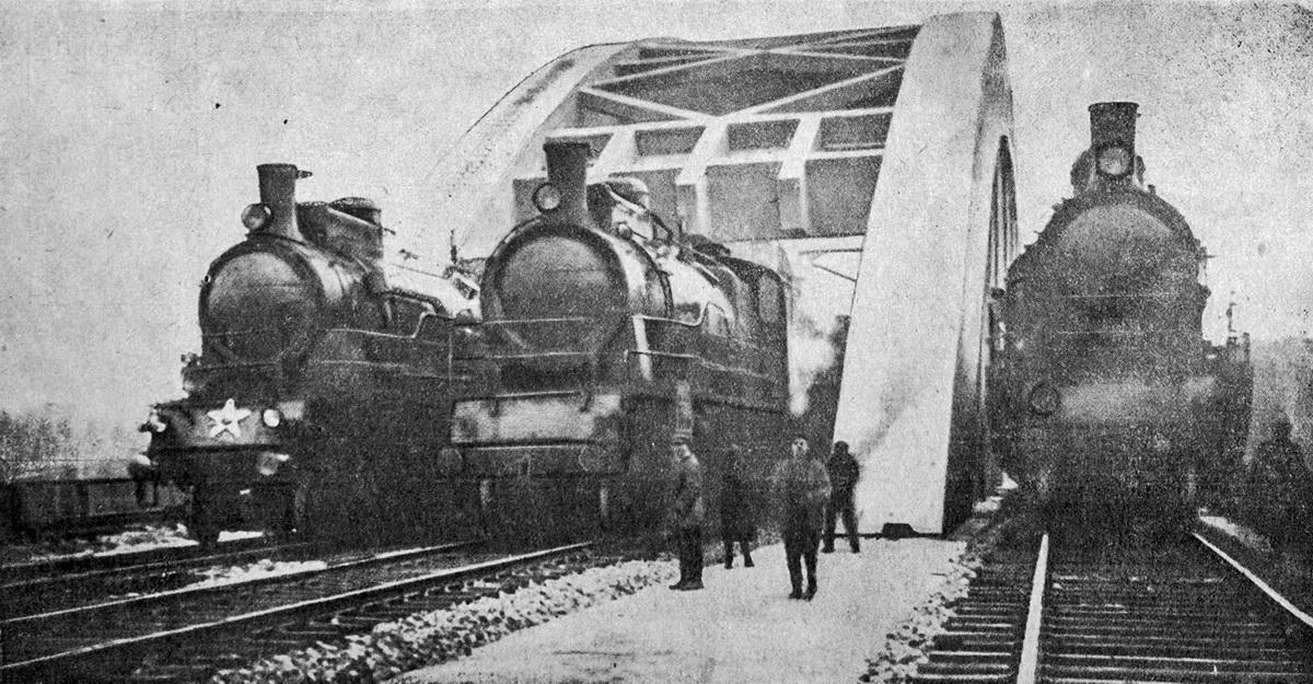 Испытания железнобетонного четырёхпутного моста через канал у ст.Химки. Ноябрь 1934 года