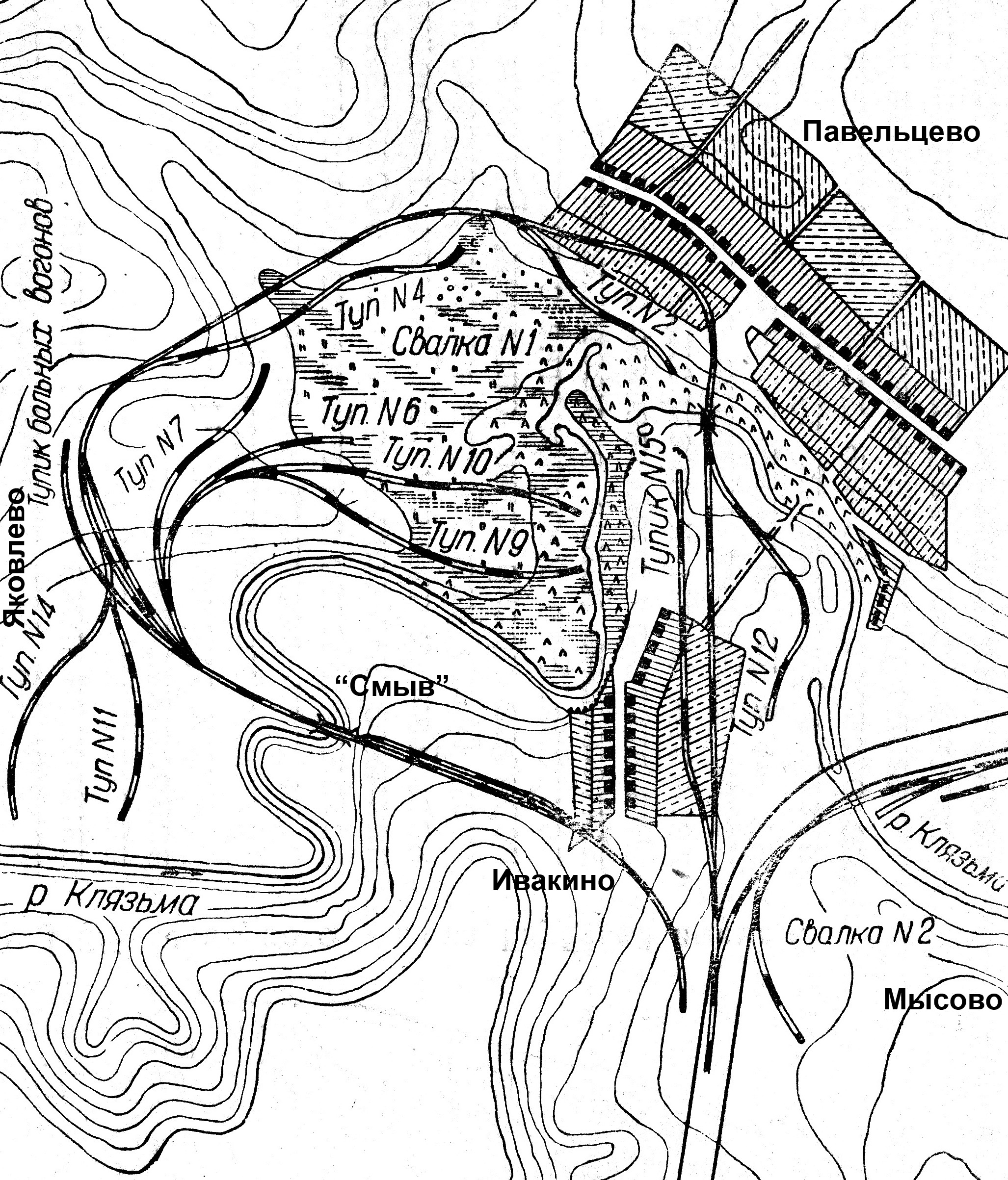 План железнодорожного кольца на 3-м участке Глубокой выемки, 1935 год.