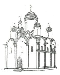 Реконструкция первоначального вида Троицкой церкви в Чашниково. П.Н.Максимов