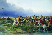 Сверчков Николай Егорович (1817-1898) - Царь Алексей Михайлович с боярами на соколиной охоте близ Москвы (1873)