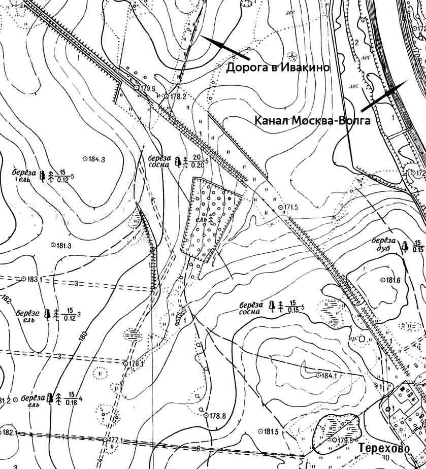 Захоронение в Химкинском лесу. Фрагмент карты 1958-1961 годов