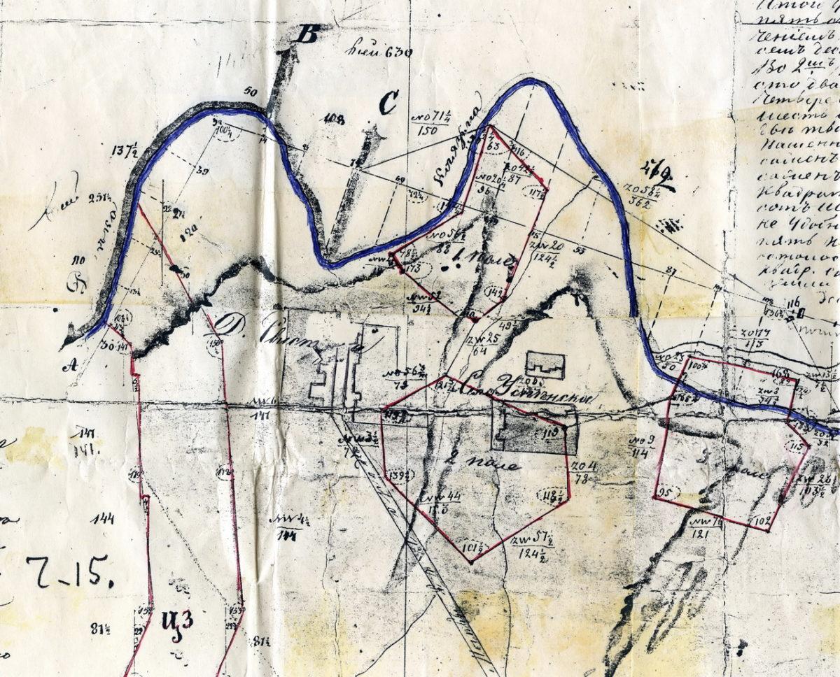 Фрагмент плана межевания Успенского-Трахонеево 1847 год