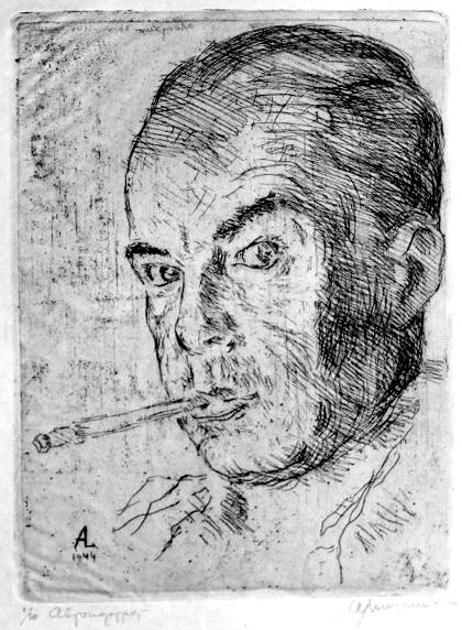 Лопухин Александр Ефимович. Автопортрет. 1944.